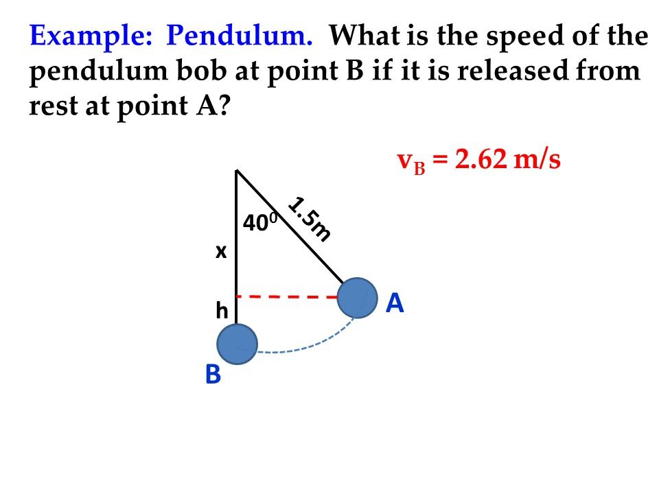 Example: Pendulum. What is the speed of the pendulum bob at point B if it is released from rest at point A