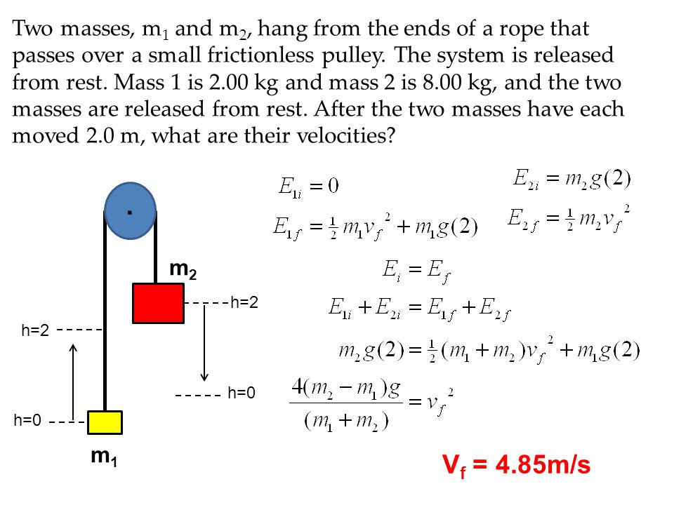Two masses, m1 and m2, hang from the ends of a rope that passes over a small frictionless pulley. The system is released from rest. Mass 1 is 2.00 kg and mass 2 is 8.00 kg, and the two masses are released from rest. After the two masses have each moved 2.0 m, what are their velocities