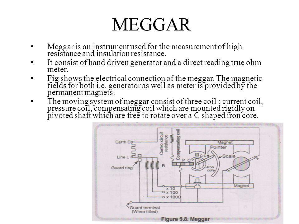 MEGGAR Meggar is an instrument used for the measurement of high resistance and insulation resistance.