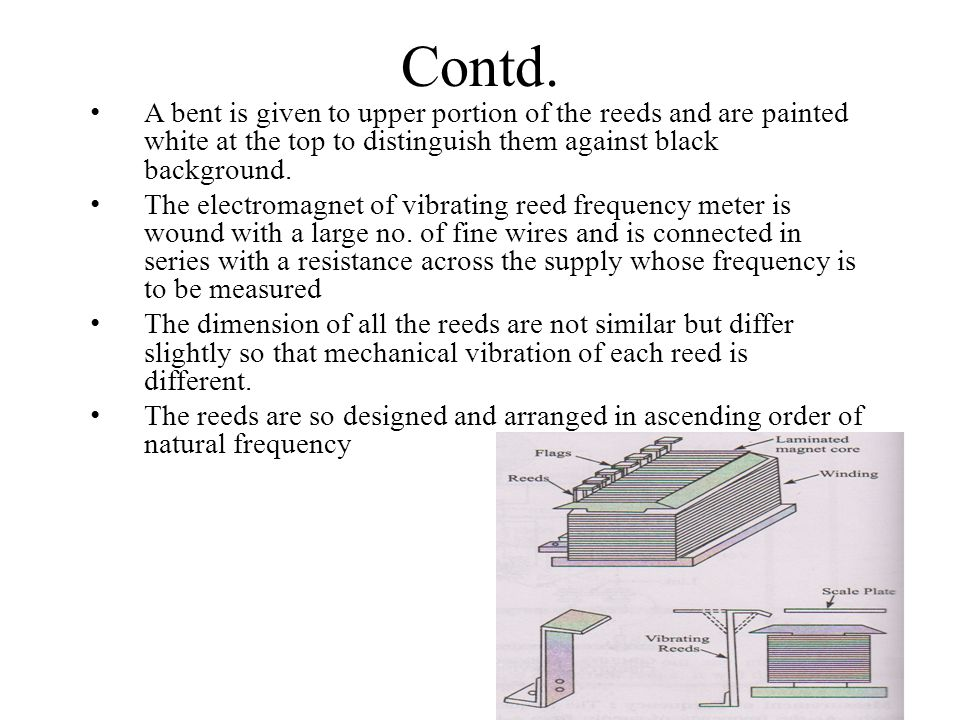 Contd. A bent is given to upper portion of the reeds and are painted white at the top to distinguish them against black background.