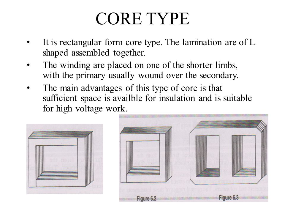 CORE TYPE It is rectangular form core type. The lamination are of L shaped assembled together.