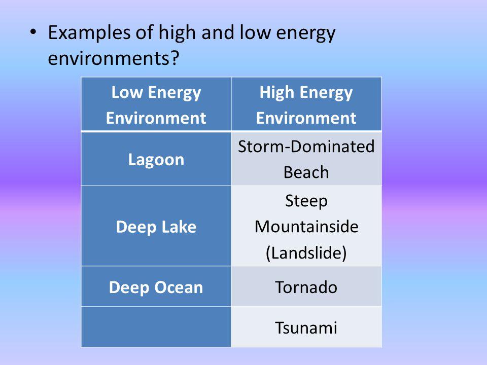 Low Energy Environment High Energy Environment
