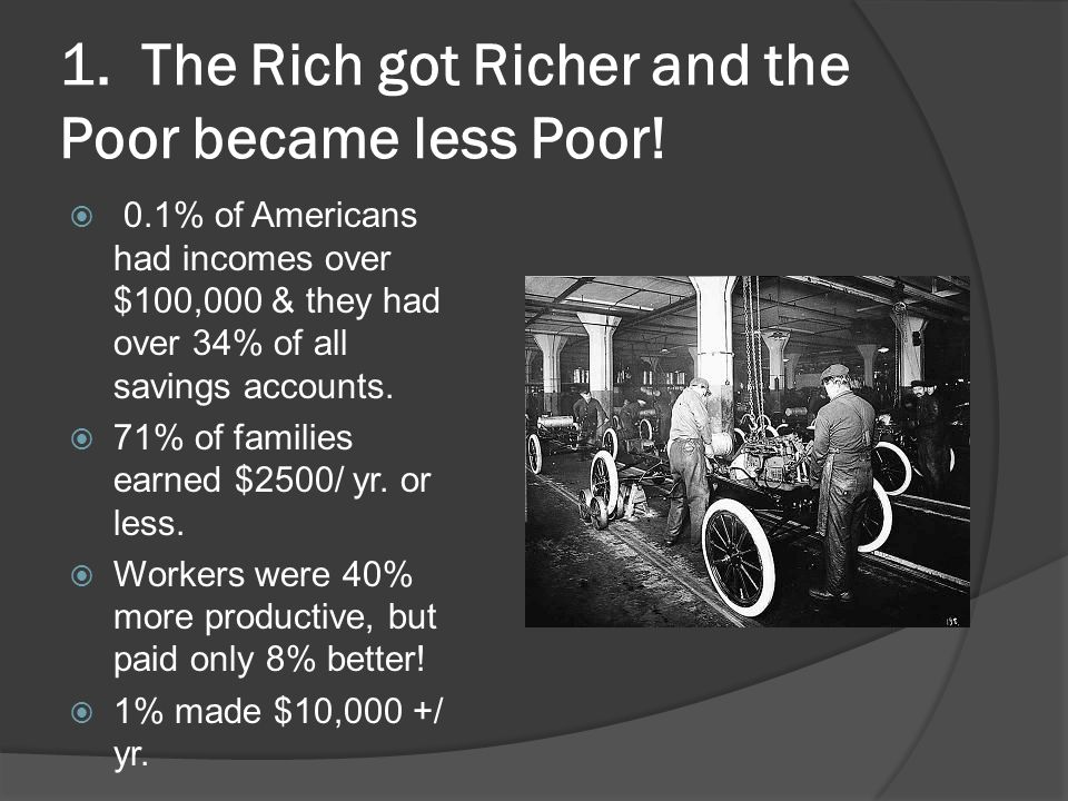 1. The Rich got Richer and the Poor became less Poor!