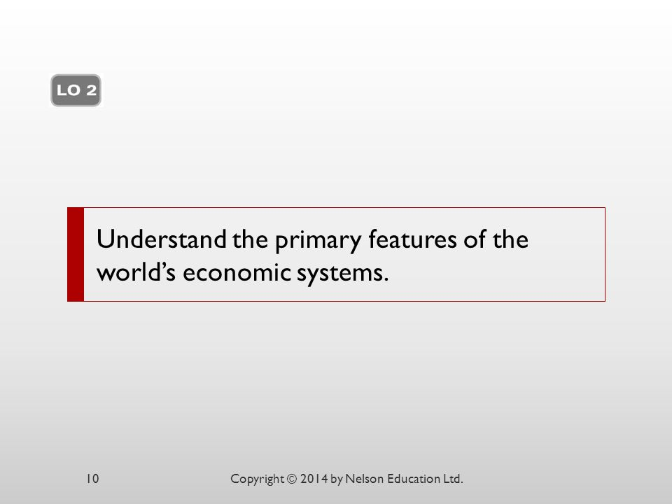 Understand the primary features of the world's economic systems.