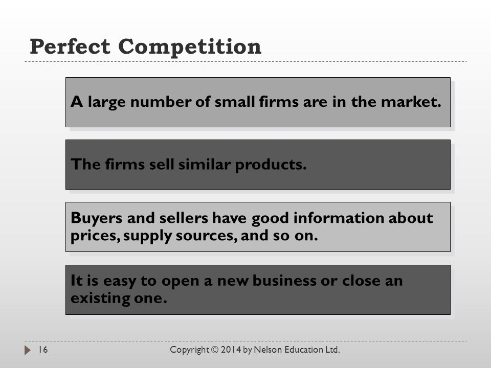 Perfect Competition A large number of small firms are in the market.