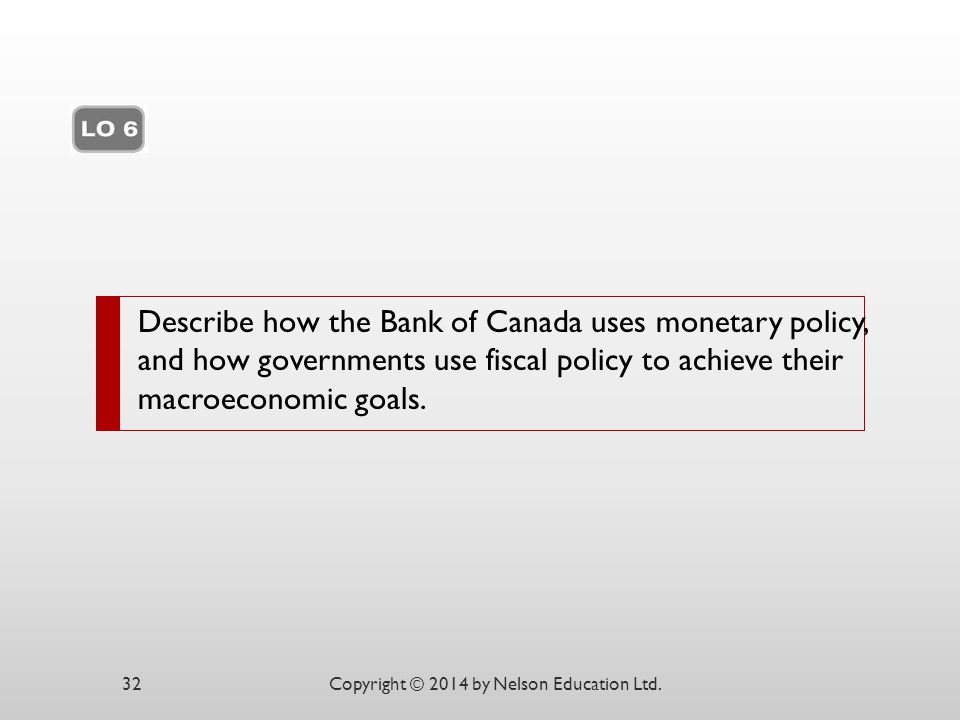 Describe how the Bank of Canada uses monetary policy, and how governments use fiscal policy to achieve their macroeconomic goals.