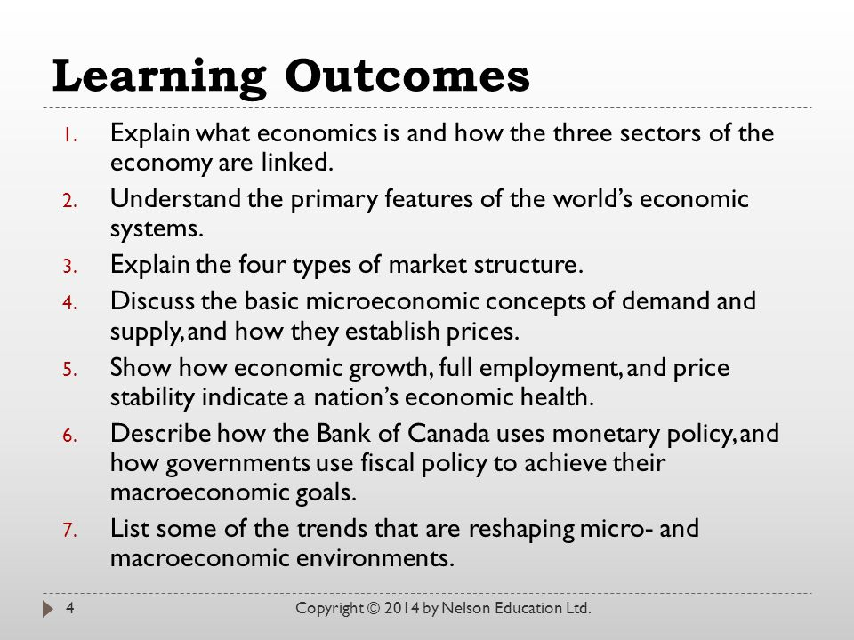 Learning Outcomes Explain what economics is and how the three sectors of the economy are linked.