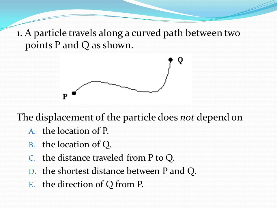 The displacement of the particle does not depend on