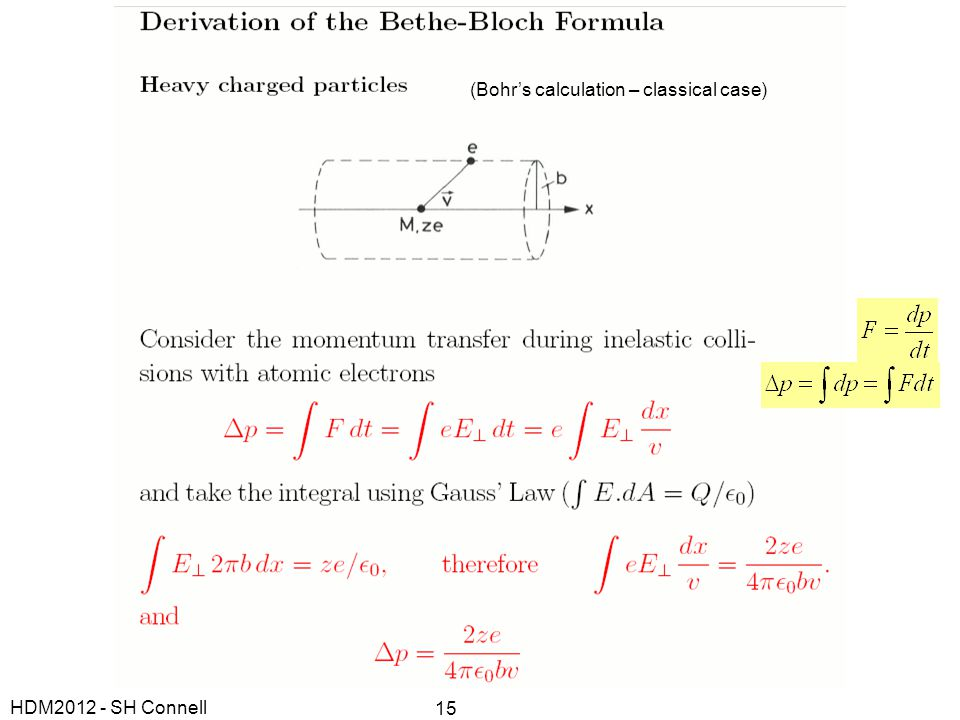(Bohr's calculation – classical case)