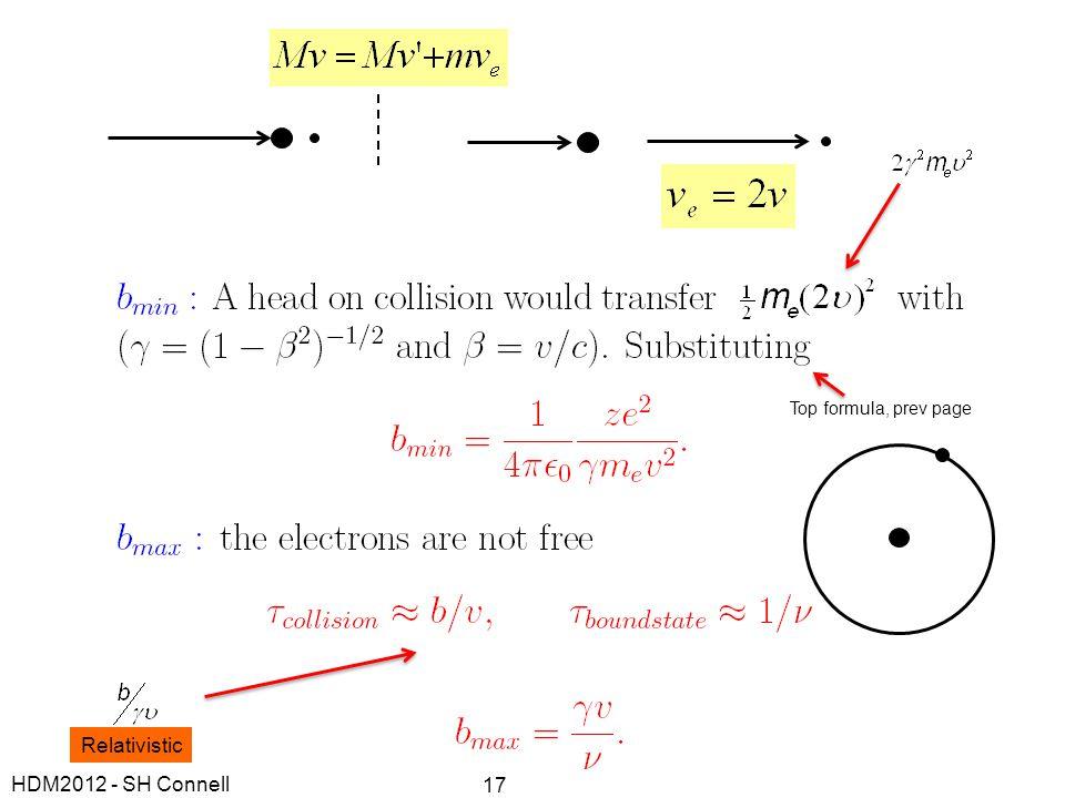 Top formula, prev page Relativistic HDM2012 - SH Connell