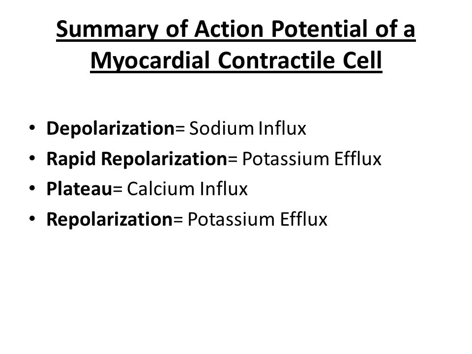 Summary of Action Potential of a Myocardial Contractile Cell