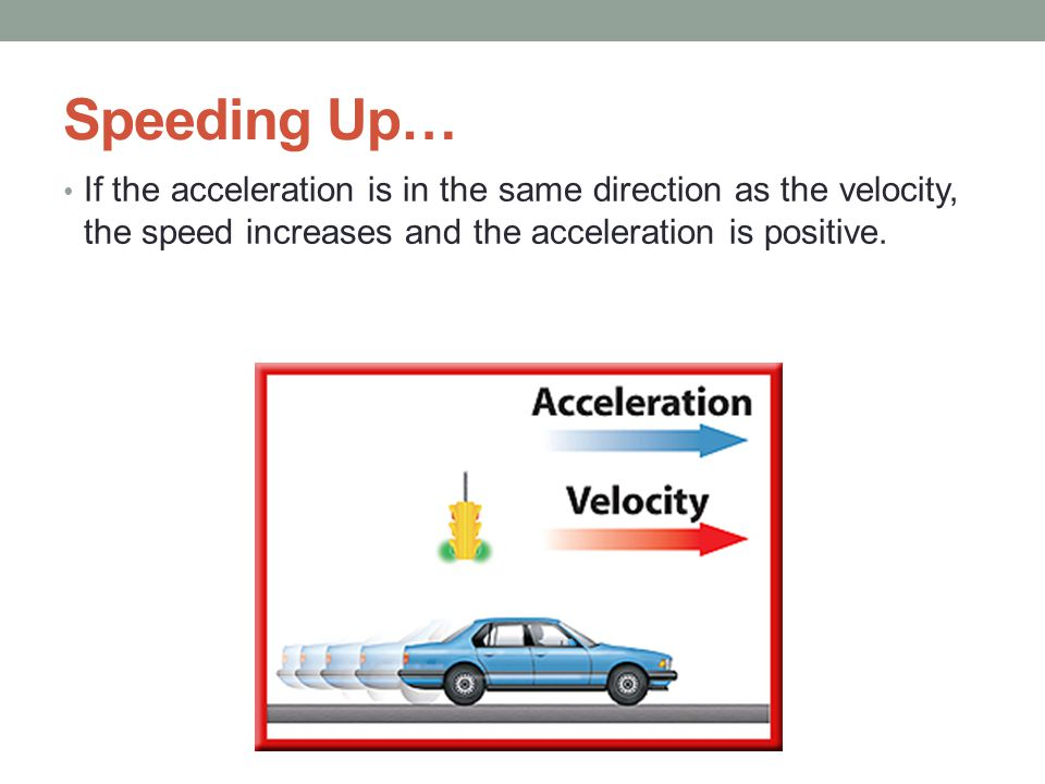 Speeding Up… If the acceleration is in the same direction as the velocity, the speed increases and the acceleration is positive.