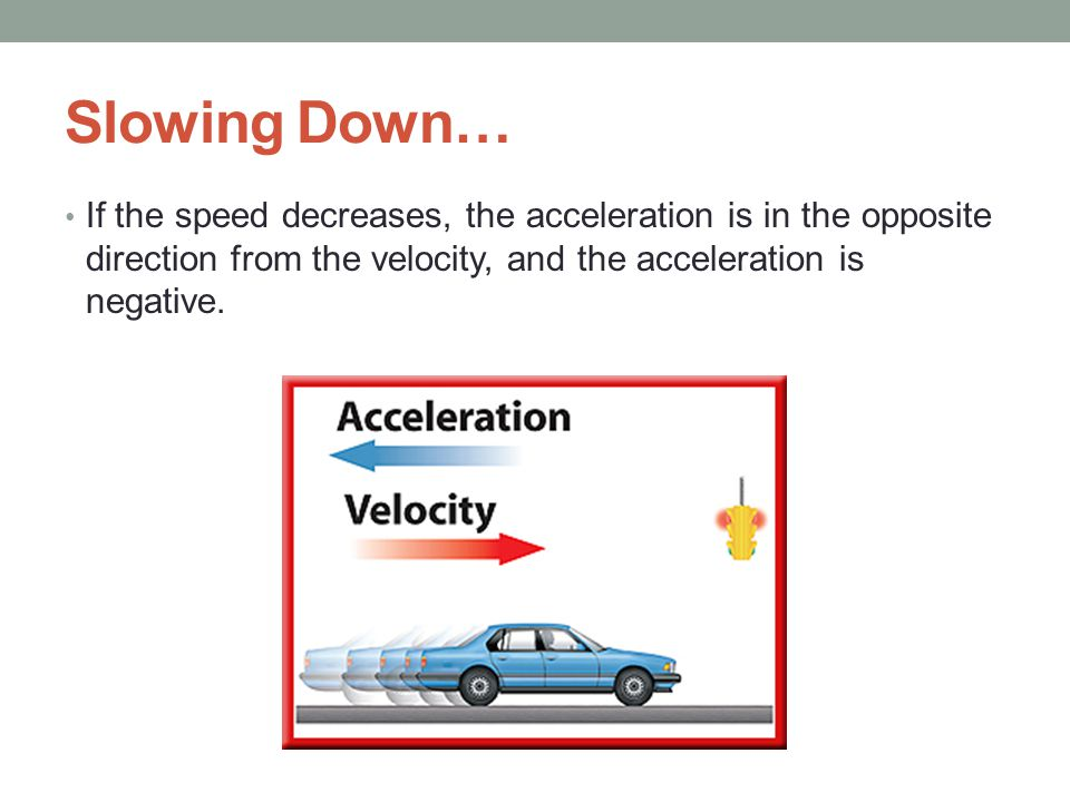 Slowing Down… If the speed decreases, the acceleration is in the opposite direction from the velocity, and the acceleration is negative.