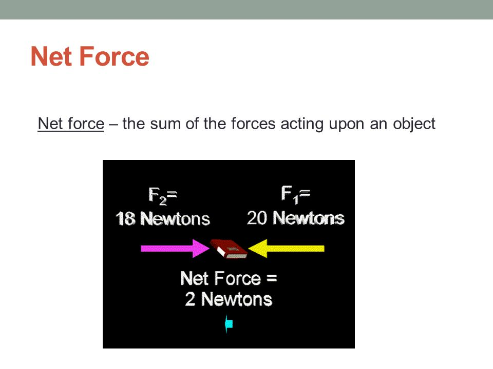 Net Force Net force – the sum of the forces acting upon an object