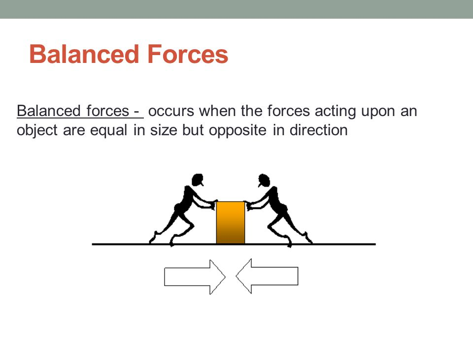 Balanced Forces Balanced forces - occurs when the forces acting upon an.