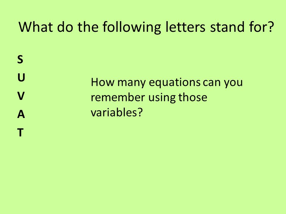 What do the following letters stand for