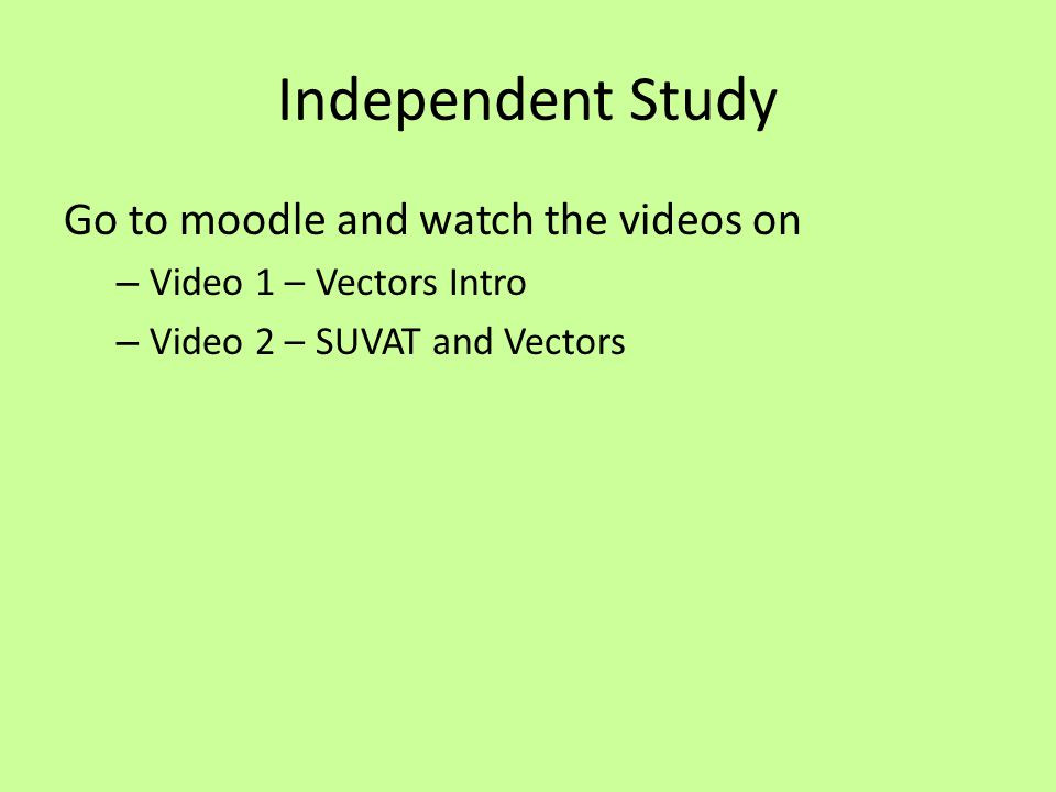 Independent Study Go to moodle and watch the videos on