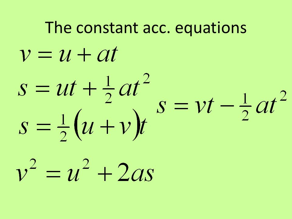 The constant acc. equations