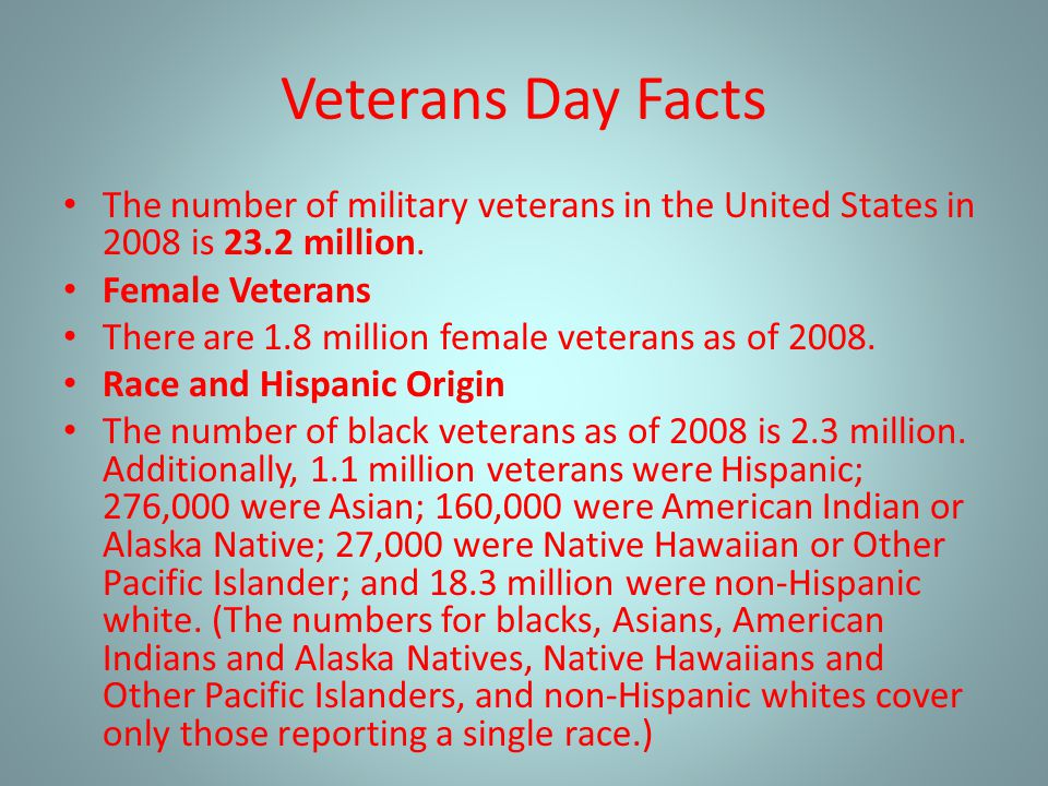 Veterans Day Facts The number of military veterans in the United States in 2008 is 23.2 million. Female Veterans.