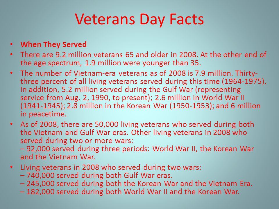 Veterans Day Facts When They Served