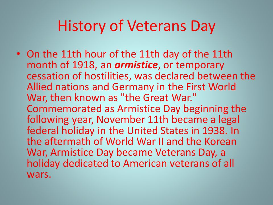 History of Veterans Day