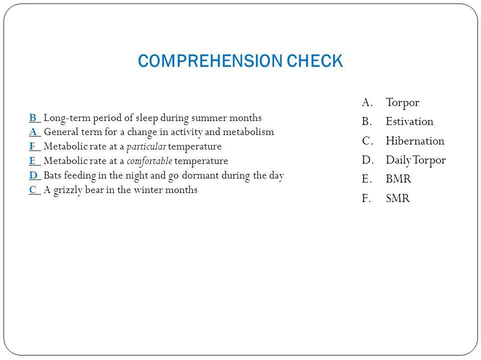 COMPREHENSION CHECK Torpor Estivation Hibernation Daily Torpor BMR SMR