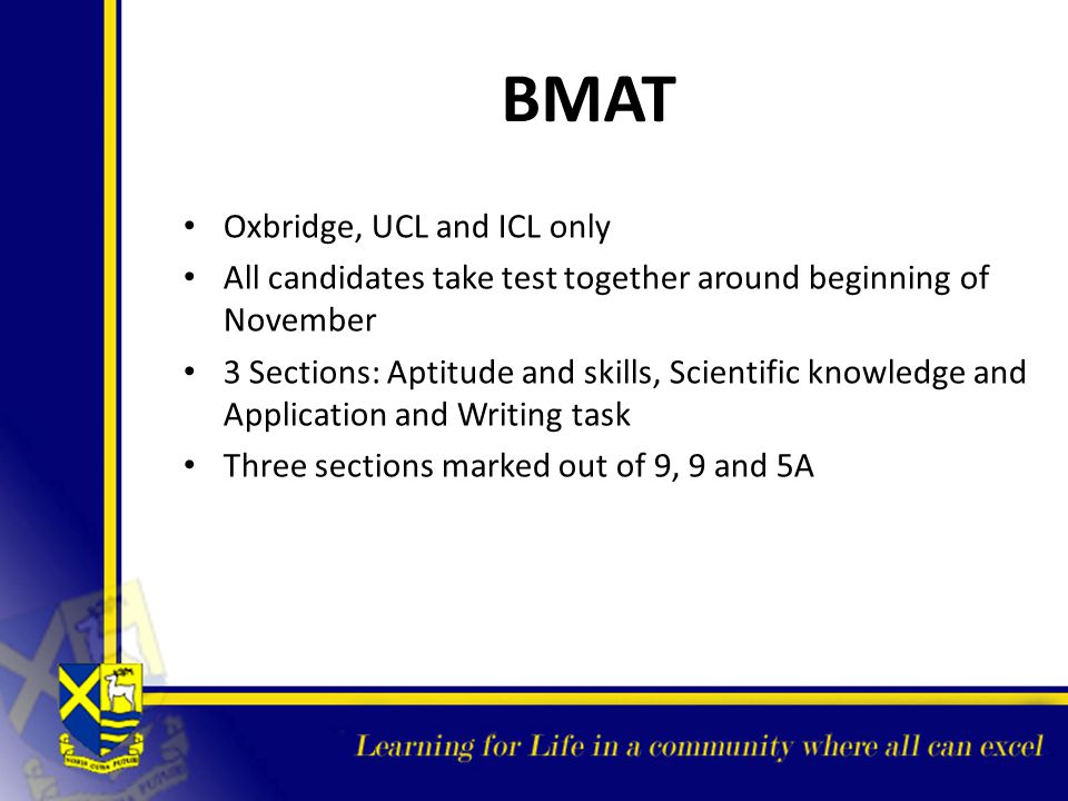 BMAT Oxbridge, UCL and ICL only