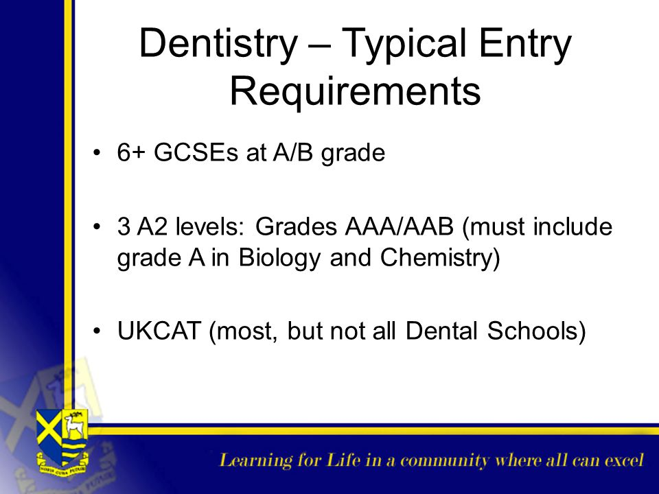 Dentistry – Typical Entry Requirements