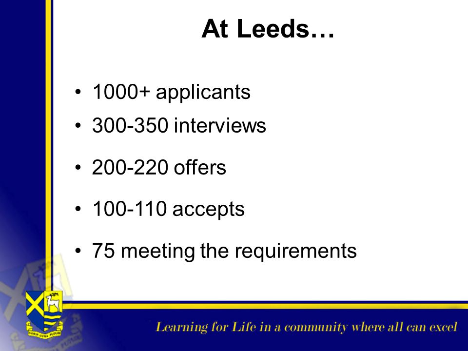 At Leeds… 1000+ applicants 300-350 interviews 200-220 offers