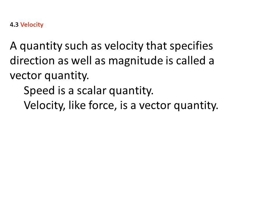 Speed is a scalar quantity.