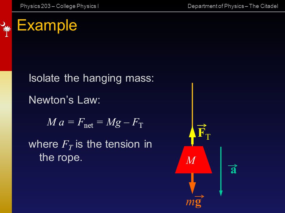 Example FT a mg Isolate the hanging mass: Newton's Law:
