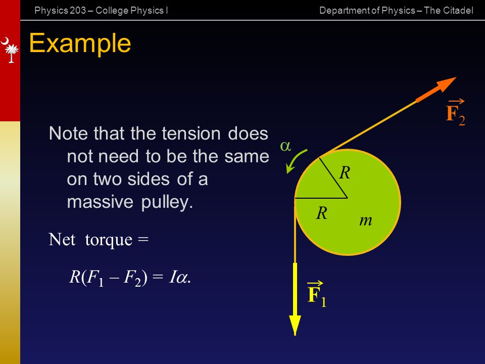 Example F2. Note that the tension does not need to be the same on two sides of a massive pulley.