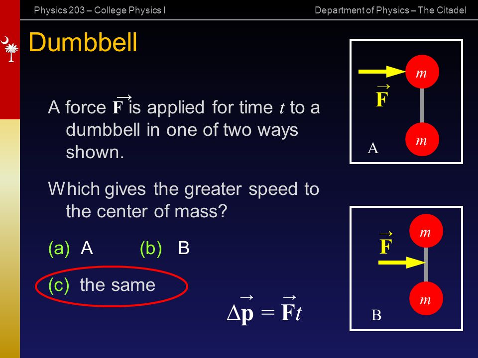 Dumbbell m. → → F. A force F is applied for time t to a dumbbell in one of two ways shown.