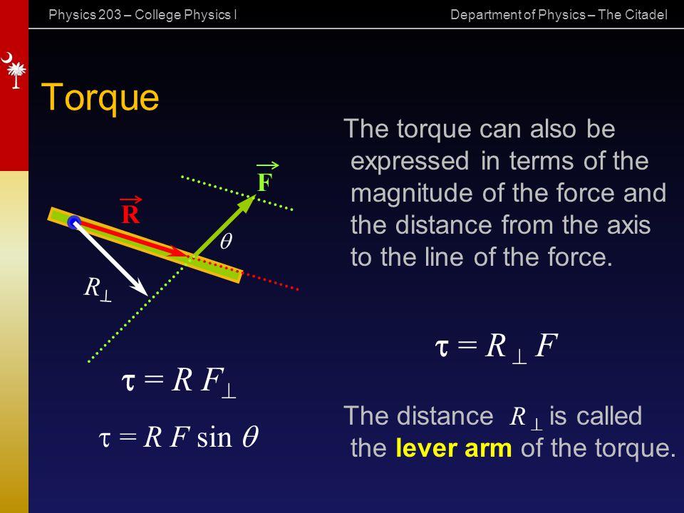 Torque t = R ^ F t = R F^ = R F sin q The torque can also be