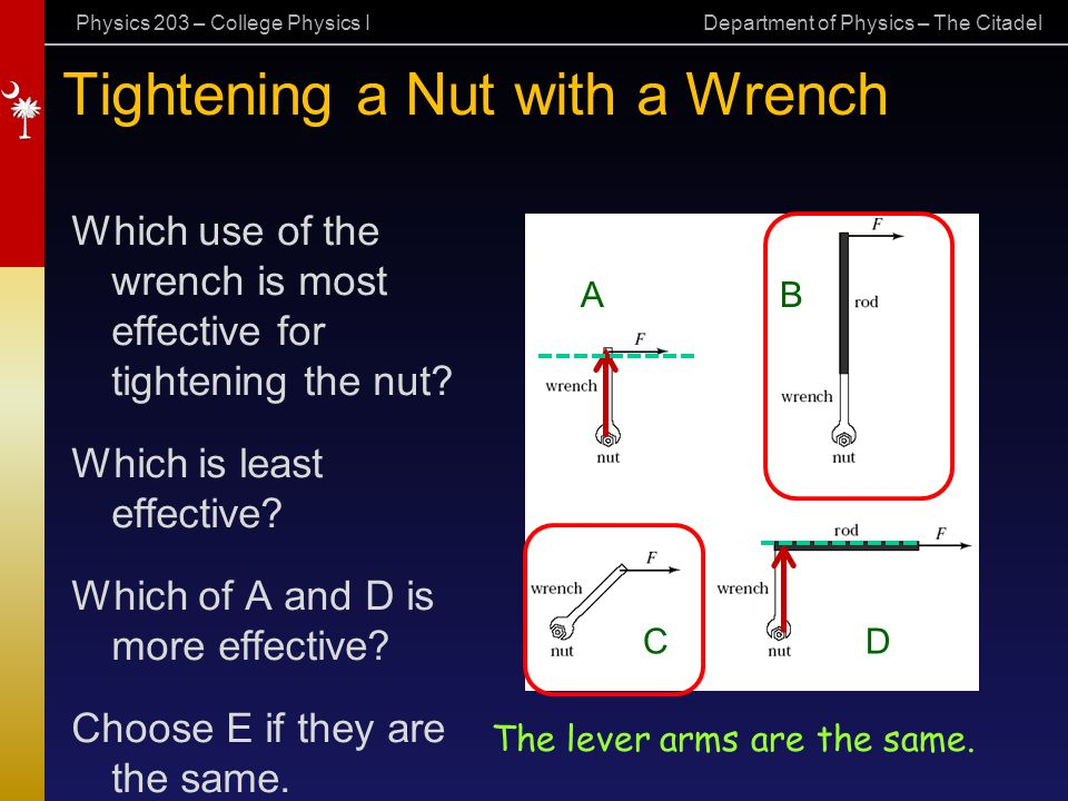 Tightening a Nut with a Wrench