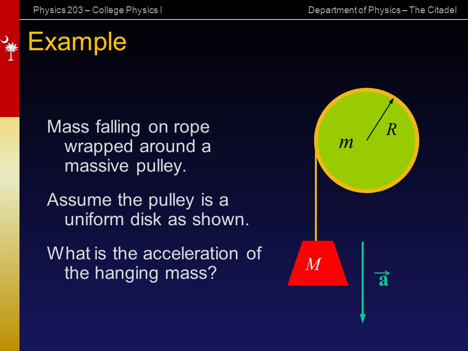 Example a Mass falling on rope wrapped around a massive pulley. R