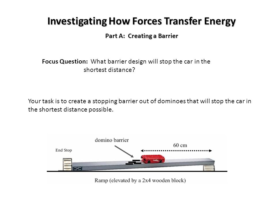Investigating How Forces Transfer Energy Part A: Creating a Barrier