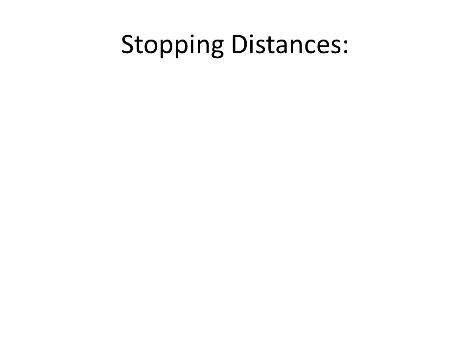 Stopping Distances: