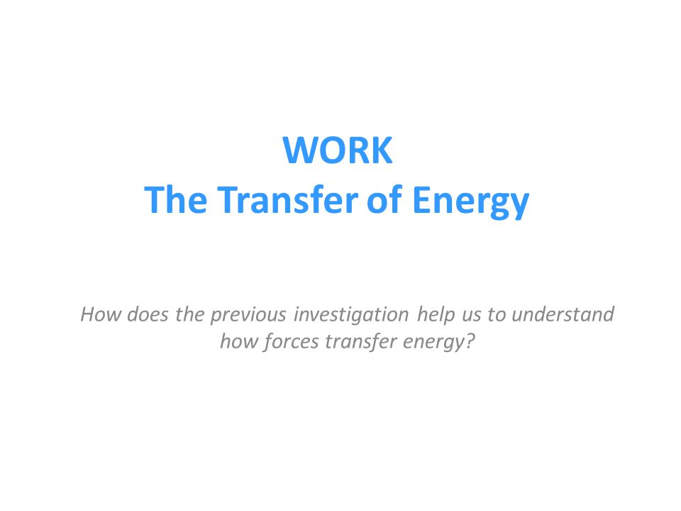 WORK The Transfer of Energy