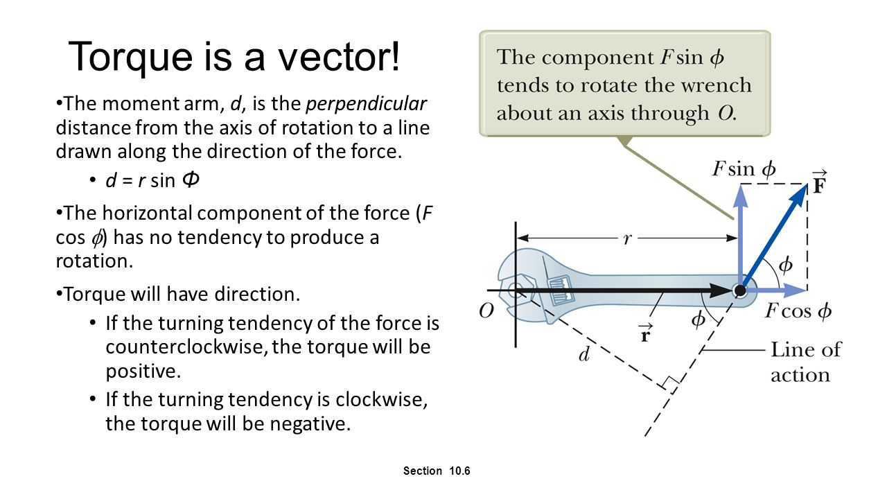 Torque is a vector! The moment arm, d, is the perpendicular distance from the axis of rotation to a line drawn along the direction of the force.
