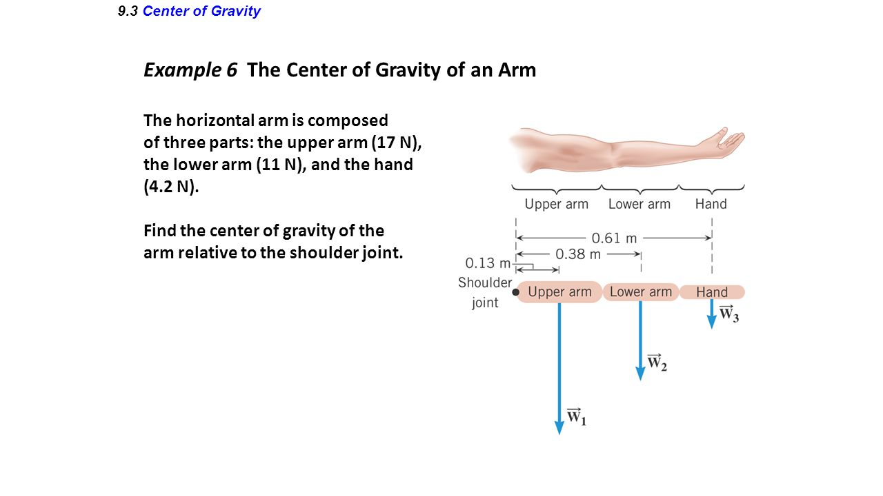 Example 6 The Center of Gravity of an Arm