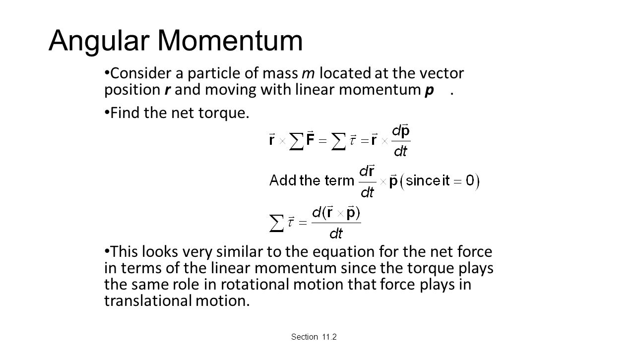 Angular Momentum Consider a particle of mass m located at the vector position r and moving with linear momentum p .