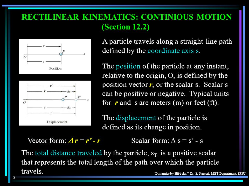 RECTILINEAR KINEMATICS: CONTINIOUS MOTION