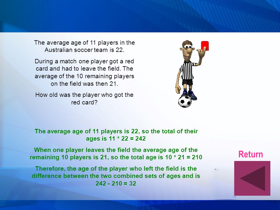 The average age of 11 players in the Australian soccer team is 22.