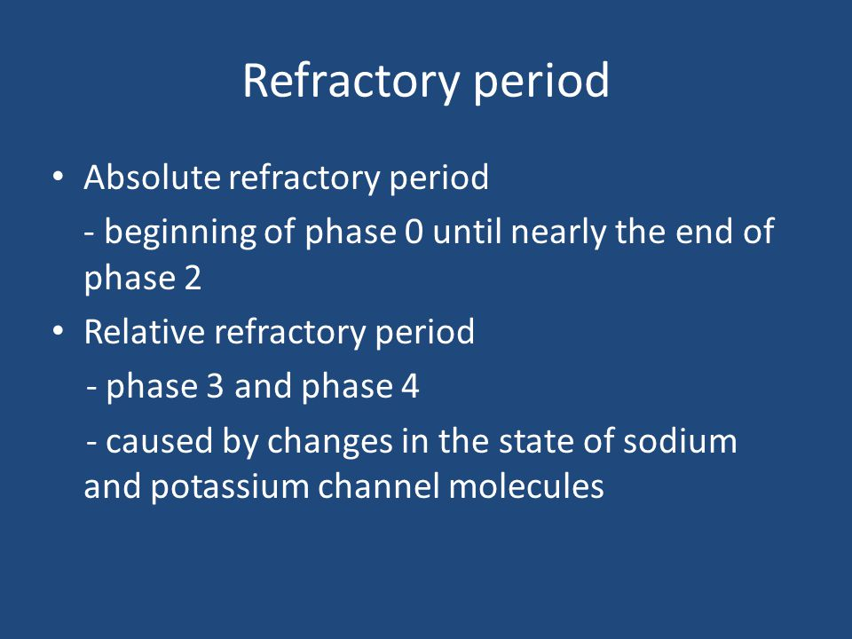 Refractory period Absolute refractory period