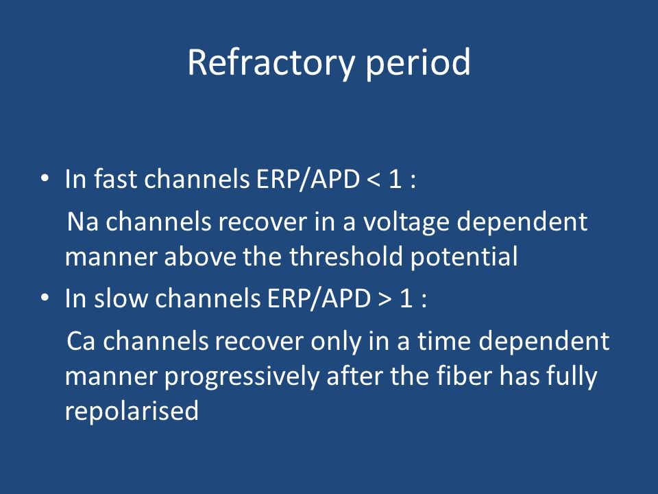 Refractory period In fast channels ERP/APD < 1 :