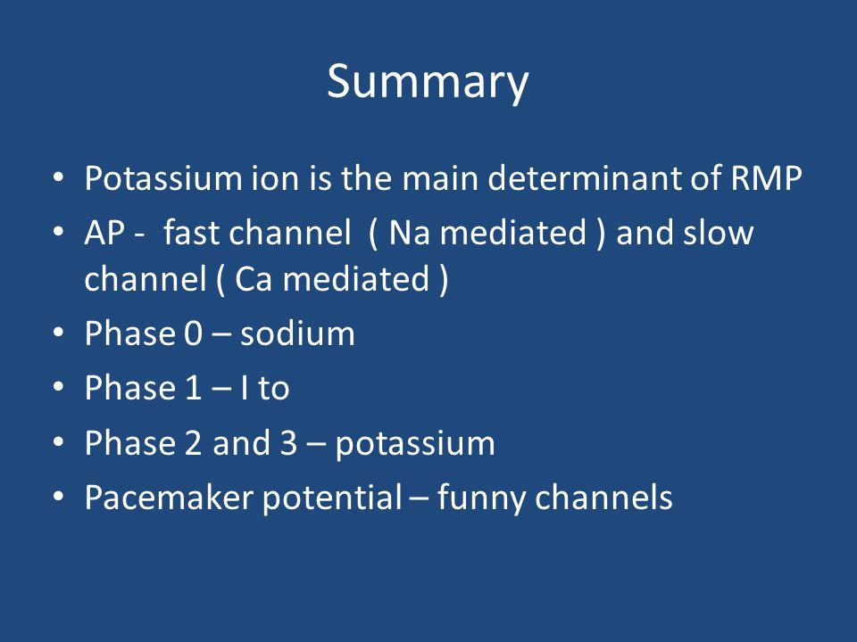 Summary Potassium ion is the main determinant of RMP