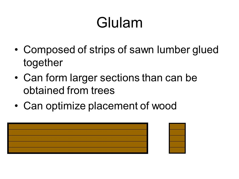 Glulam Composed of strips of sawn lumber glued together