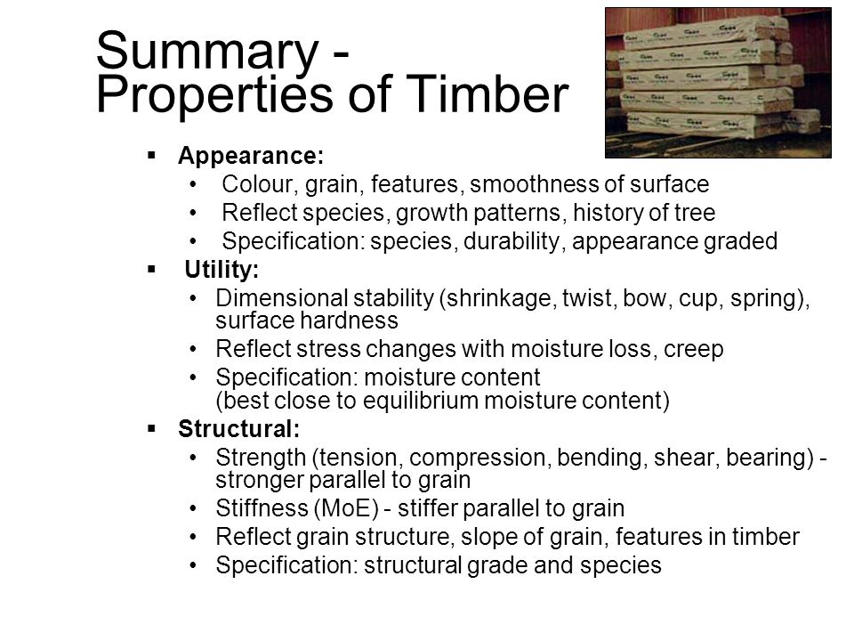Summary - Properties of Timber