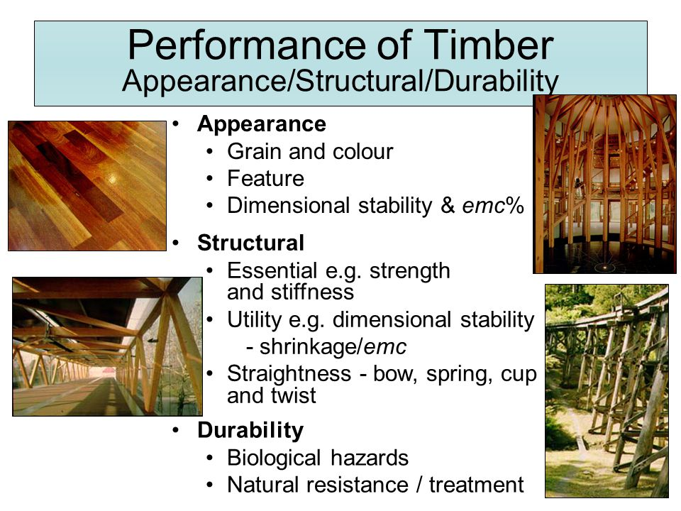 Performance of Timber Appearance/Structural/Durability
